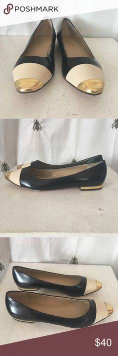 Talbots Black Ivory Gold Ballet Flats, Size 7 Talbots Black, Ivory, and Gold Color Block Ballet Flats, with gold heels!  Size 7 Talbots Shoes Flats & Loafers