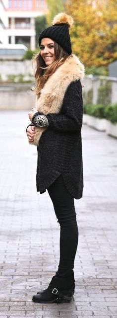 #winter #fashion / black coat + faux fur (I would change the fur to a blanket scarf though)