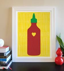 Sriracha Print by The Best Part on Scoutmob Shoppe. This saucy art print features a spicy bottle of beloved Sriracha. How To Better Yourself, Decoration, Artsy Fartsy, Screen Printing, Print Patterns, Kids Rugs, Diy Crafts, Crafty, Art Prints