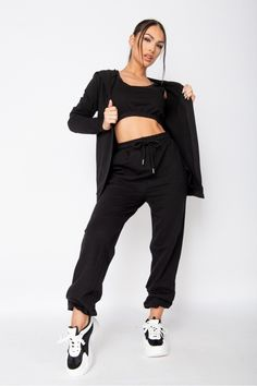 Work from home then head out on the town in this 3 piece loungewear set. Casual comfort turned streetwear. 3 piece loungewear set Crop vest & hoody Jogger bottoms Regular fit 85% cotton 12% polyester 3% elastane Machine washable Give back to the homeless community Loungewear Outfits, Loungewear Set, Size 10 Models, Size Model, Lounge Wear, Joggers, Active Wear, Street Wear, Normcore