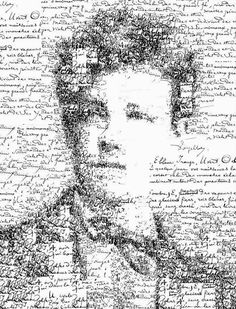 Manuscript self portrait of Arthur Rimbaud (1854-1891) - Portrait of the french poet using one of his manuscript poems. Generative calligraphic collage - Sergio ALBIAC