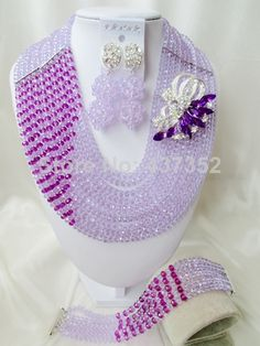 Classic Lilac mixed Purple Crystal Costume Necklaces Nigerian Wedding African Beads Jewelry Sets Free shipping NC700 $58.15