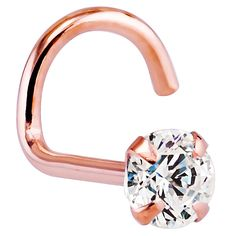 Cubic Zirconia 14K Rose Gold Nose Rings Twist Screw at FreshTrends.com