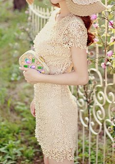 Pearls Crochet Dress