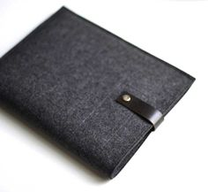 Byrd and Belle iPad Sleeve - Graphite Wool Felt with Black Leather (ipad mini w/ smart cover) $48 [BOUGHT]