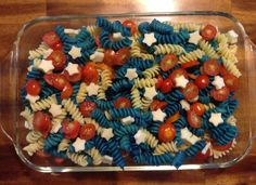 Patriotic Pasta Fourth of July food red white blue food star shaped food 4th of July.. Just a picture
