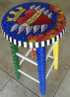 Hand painted stool by Carla Bank #handpaintedfurniture