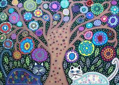 Folk Art Cats with Tree of Life: Kerri is a self taught artist born and raised in Park Slope, Brooklyn. Kerri is a animal lover who has filled her home with many rescued pets.