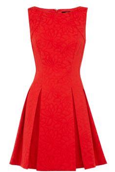 La dernière collection de robes femme   Rouge Robe patineuse en jacquard à motif pâquerettes   Oasis