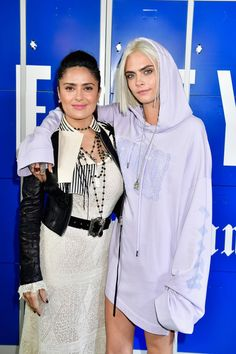 Salma Hayek and Cara Delevingne attend the FENTY PUMA by Rihanna Fall / Winter 2017 Collection show.