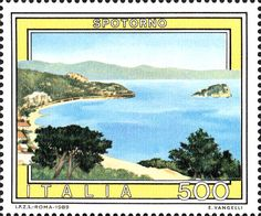 Sello: Tourist- Spotorno (Italia) (Tourist Attractions) Mi:IT 1889 Cat Clock, Stamp Collecting, Postage Stamps, Attraction, Landscape, World, Pictures, 1990, Painting
