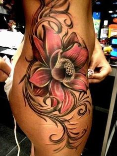 Idea for my side, beginnings of a cover for me.... Love this floral side piece #tattoo ❤️