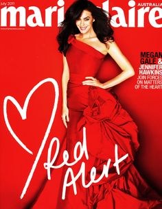 Megan Gale in custom made gown on the cover of the Red Alert issue of marie claire...