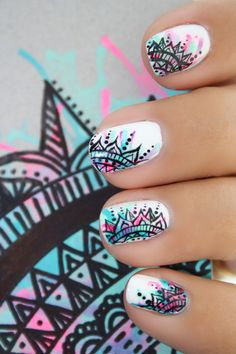 Nail art is a very popular trend these days and every woman you meet seems to have beautiful nails. It used to be that women would just go get a manicure or pedicure to get their nails trimmed and shaped with just a few coats of plain nail polish. Beautiful Nail Art, Gorgeous Nails, Pretty Nails, Super Cute Nails, Beautiful Women, Fancy Nails, Diy Nails, Mandala Nails, Mandala Art