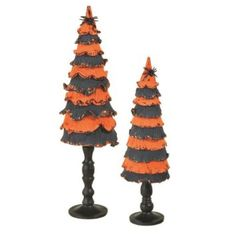"""Amazon.com - Set of 2 Small Orange and Black Halloween Cone Trees on Spindles 20"""""""