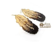 Brown feathers earrings FREE SHIPPING by AnnaCohen on Etsy