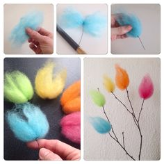 Easy Needle Felted Flowers by Craft me Happy! How to make cookie cutter style needle felted flowers and then embellish further to add colour detail. Want excellent suggestions on arts and crafts? Felt Crafts, Easter Crafts, Crafts To Make, Fabric Crafts, Crafts For Kids, Diy Crafts, Felt Flowers, Paper Flowers, Waldorf Crafts
