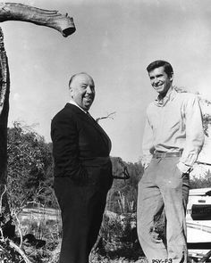 1960 Alfred Hitchcock and Anthony Perkins on the set of Psycho