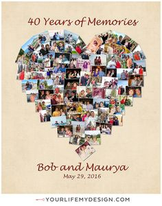 16x20 with 74 photos heart collage. 40th anniversary heart collage ❤ Background 1 Font 5