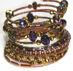 Sparkle Bracelet Gold Beaded Memory Wire Bracelet