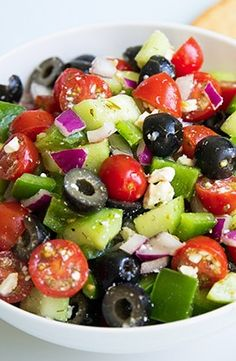 Greek Salad, great use for the veggies ready in the garden at the same time ! Veggie Salads Recipes, Health Salad Recipes, Greek Salad Recipes, Salad Dressing Recipes, Healthy Salads, Vegetarian Recipes, Diet Recipes, Cooking Recipes, Easy Chicken Recipes