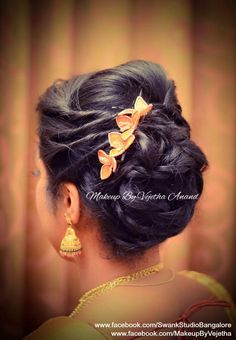 Indian bride's reception hairstyle by Vejetha for Swank Studio. Braid up do. Bridal hair. Saree Blouse Design. Hair Accessories. Tamil bride. Telugu bride. Kannada bride. Hindu bride. Malayalee bride. Find us at https://www.facebook.com/SwankStudioBangalore