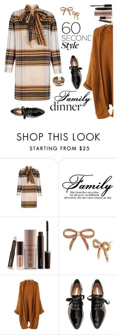 """""""60 Second Style: Family Dinner"""" by ellie366 ❤ liked on Polyvore featuring The 2nd Skin Co., Laura Mercier, Betsey Johnson, Oxfords, bows, shirtdress, cardigans and familydinner"""