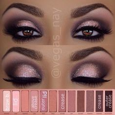 This makeup look includes: Eyeliner, Silver sparkly eyeshadow, Mascara , and Fake eyelashes