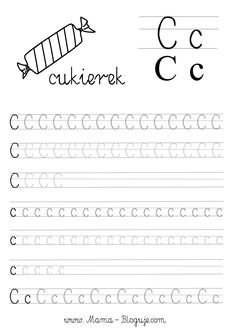 nauka pisania literek - szablon literka C Tracing Worksheets, Preschool Worksheets, Chicken Crafts, Learning Letters, Toddler Learning, Kids Writing, Working With Children, Phonics, Hand Lettering