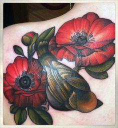 Flowers and Bird tattoo