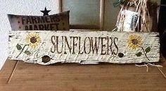 Primitive-old-whitewashed-barn-wood-sign-SUNFLOWERS-rustic-vintage