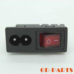 1 UNID IEC 320 C8 plug power RED de Alimentación de CA Socket Eléctrica cable de Toma De Corriente de entrada Con EN del Interruptor de Balancín CCC CE