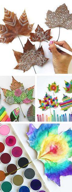 Идеи для занятий с детьми: Роспись осенних листьев