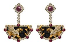www.mageritjoyas.com   Babylon collection Ishtar gate earrings / aretes: - Oro amarillo 18KT, diamantes, rubíes y onix. - 18KT yellow gold, diamonds, rubies and onix. #joyas #joyería #jewels #jewelry #jewellery #earrings #aretes #pendientes #lujo #luxury #oro #gold #fashion #design #art #Spain #spanish #Madrid #brand #label #marca