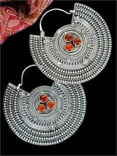 Extraordinary large Sterling Silver and Carnelian handcrafted Tibetan Jewelry Earrings.