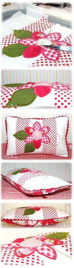Der Stickbär   Designbeispiel: Flower-Patchwork-Pillow ITH Pillow mit 3D-Applikation super leicht gestickt