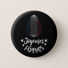 Happy Easter and Easter egg with French flag Pinback Button  $3.35  by SashicaPrints  - custom gift idea