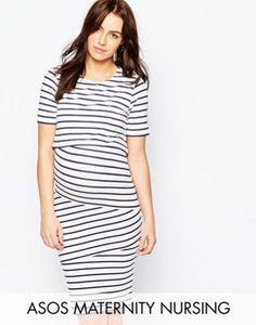 8cf9f68d27d5d3 ASOS Maternity NURSING Double Layer Body-Conscious Dress In Stripe Asos  Maternity