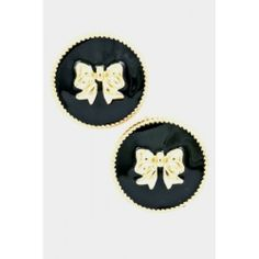 """Bow Button Earrings in black enter SOFLAGRL under """"view cart"""" for a discount"""
