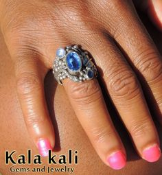Blue Faceted Kyanite and Blue sapphire and star by KalaKali, €210.00