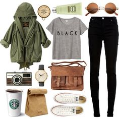 Khaki jacket + grey top + black jeans + tan handbag