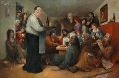 marius van dokkum ansichtkaarten - Google zoeken Artist Brush, Dutch Artists, Norman Rockwell, Naive Art, Art And Illustration, Funny Art, Caricature, Storytelling, Funny Pictures