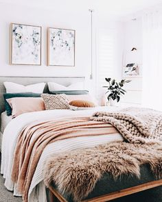 Home Decoration Ideas Indian White Pink Feminine Bedroom Inspiration Cozy Beds. Home Decoration Ideas Indian White Pink Feminine Bedroom Inspiration Cozy Beds Bedroom Apartment, Home Bedroom, Dream Bedroom, Warm Bedroom, Bedroom Brown, Bedroom Neutral, White Bedroom Walls, Winter Bedroom, Bedroom 2018