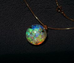Floating Opal Necklace with over 6 Carats Lightning by PlanetOpal
