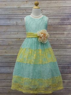 Look at this Petite Adele Mint & Yellow Lace Color Block Dress - Toddler & Girls on today! Toddler Fancy Dress, Toddler Girl Dresses, Toddler Girls, Green Flower Girl Dresses, Lace Flower Girls, Trendy Baby Girl Clothes, Fancy Dress Online, Lace Overlay Dress, Glam Girl
