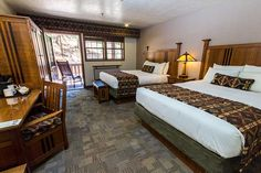 Zion Lodge right in the middle of Zion National Park. Guest accommodations include cabins, hotel rooms & suites with many amenities.