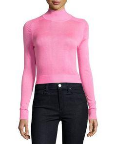 TBH6F John & Jenn Funnel-Neck Cropped Sweater, Hot Pink