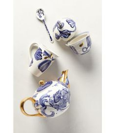 Jardin Des Plantes Tea Set - Ruan Hoffman for anthropologie Teapots And Cups, My Cup Of Tea, Kitchenware, Cup And Saucer, Tea Time, Tea Cups, Blue And White, Blue Gold, White Gold