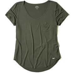 Hollister Must-Have Easy Pocket Tee (880 RUB) via Polyvore featuring tops, t-shirts, olive dd, green v neck t shirt, military green t shirt, curved hem tee, v neck pocket t shirts и pocket t shirts