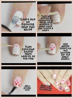 Ombré heart nails by cutepolish on YouTube